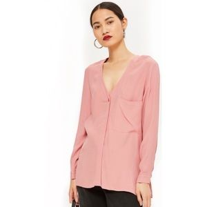 Topshop mauve pink button up shirt long sleeve